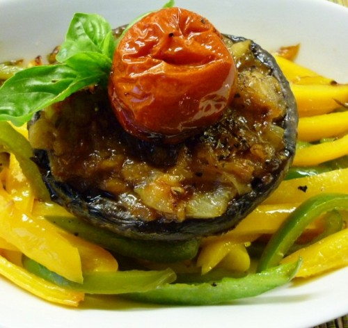 Stuffed Field Mushrooms on a Bed of Peppers