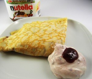 Pancakes with Nutella, fruit and yoghurt